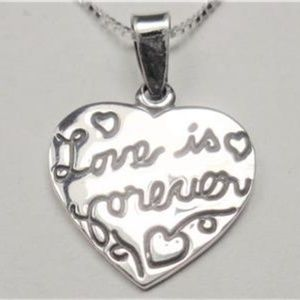 STERLING SILVER LOVE IS FOREVER HEART NECKLACE
